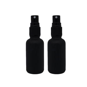 Empty serum matte black spray pump mist perfume colored frosted glass bottles with dropper for essential oil packaging