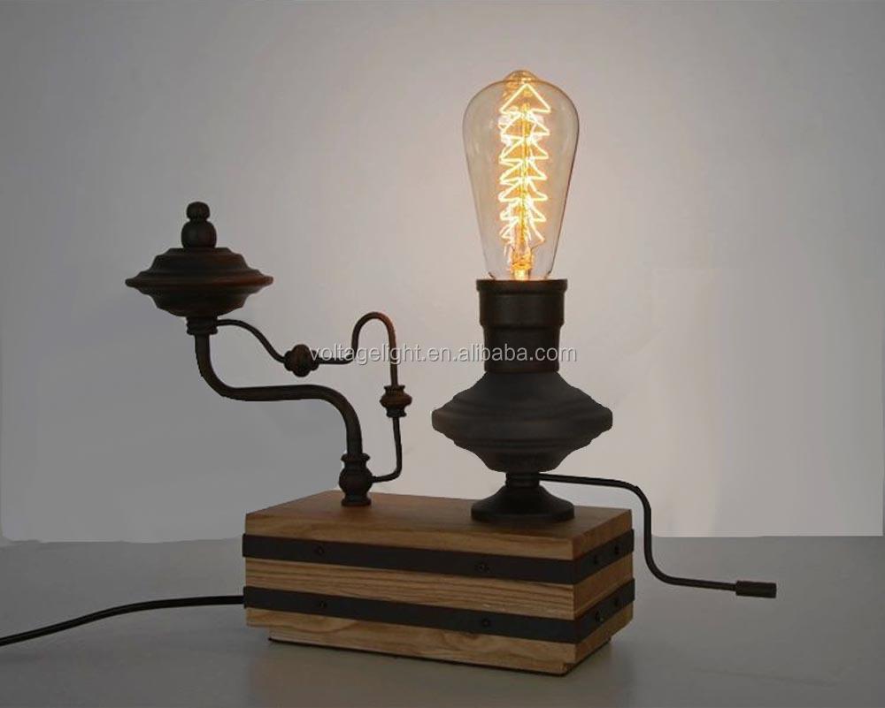 Vintage Retro Metal Decoration Desk Lamp Edison Light Bulb Wooden – Desk Lamp Light Bulb