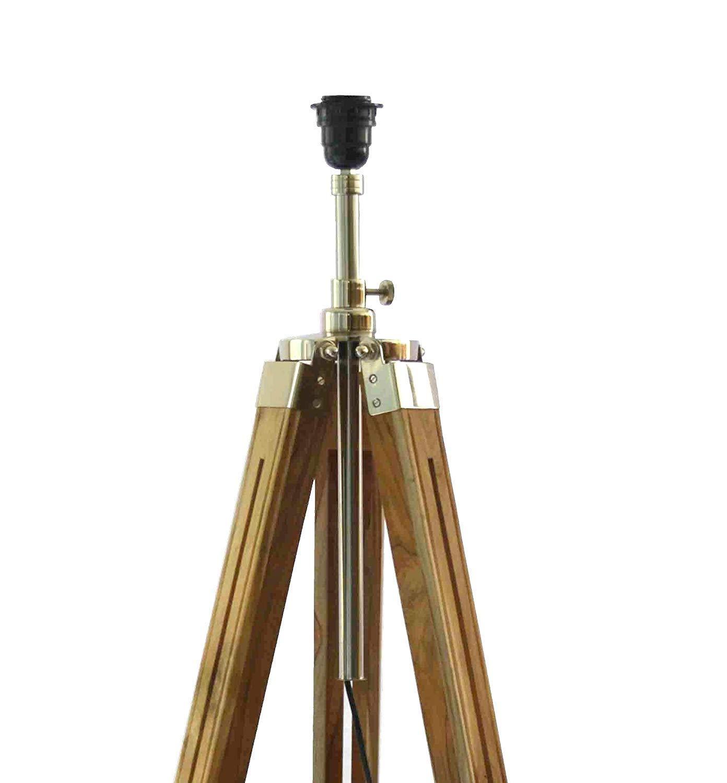 SHOLOIM Timber Tripod Floor Lamp Stand Teak Wood
