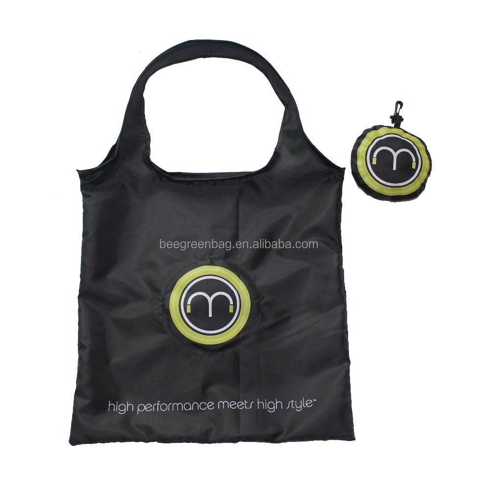 Promotional Polyester/nylon shopping bag folded in small pouch for supermarket
