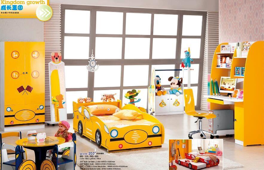 hot selling kids bedroom furniture red coloured kids cartoon car bed for sale