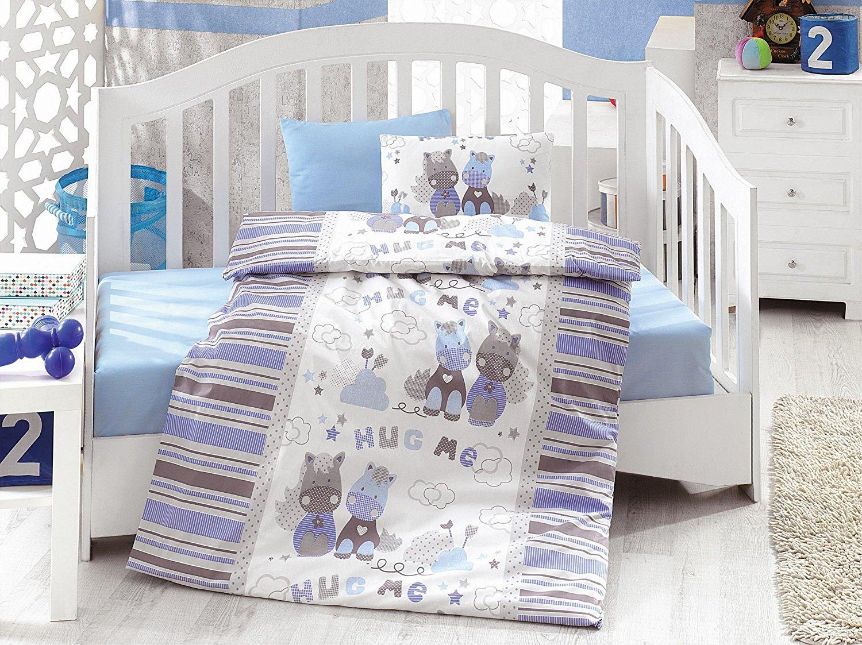 LaModaHome 5 Pcs Baby Hug Me Horse Flowers Blue Clouds Stars White Peaceful Toddler Cotton Bedding COTTON COMFORTER Set, Turkey 100% Cotton Nursery [with COTTON Quilt/Comforter]