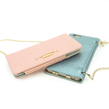 Trendy ladies leather phone cover smartphone case with metal chain bling cases for iphone