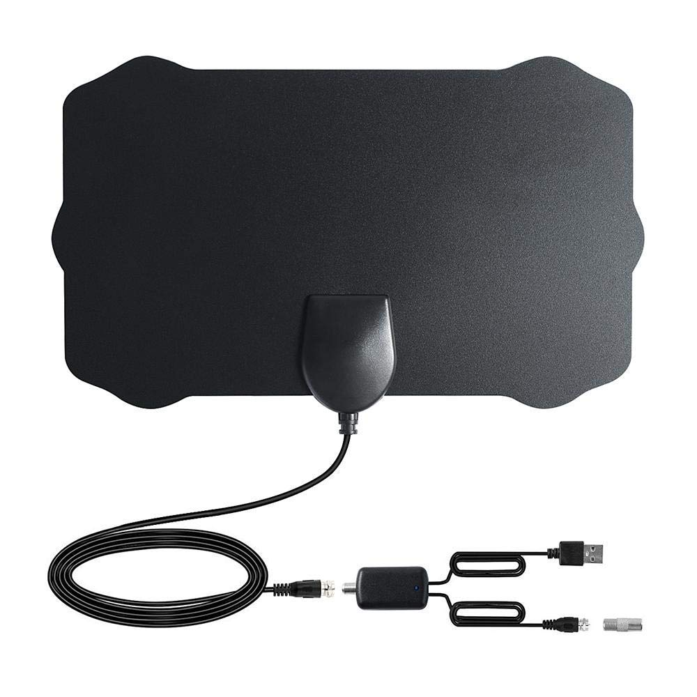 Teepao TV Antenna, 50 Miles HDTV Antenna Amplified Indoor Ultra-Thin Antenna with Signal Booster and 13Ft High Performance Coaxial Cable Support All TV