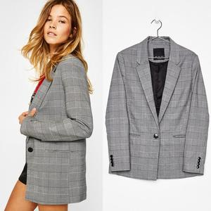 wholesale woman jacket custom make check polyester blazer woman