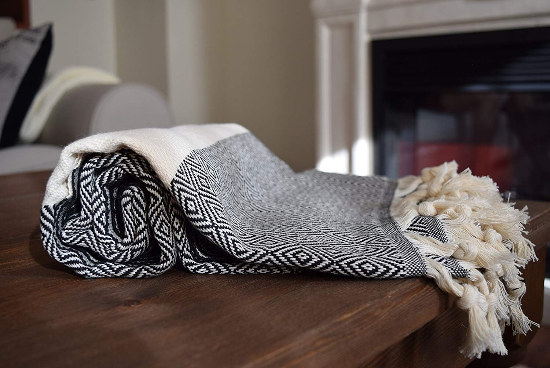 All Cotton Turkish Peshtemal for Bath Spa Sauna Beach Towel 100% Cotton Extra Hammam towel Turkish Towel DIAMOND (Black)