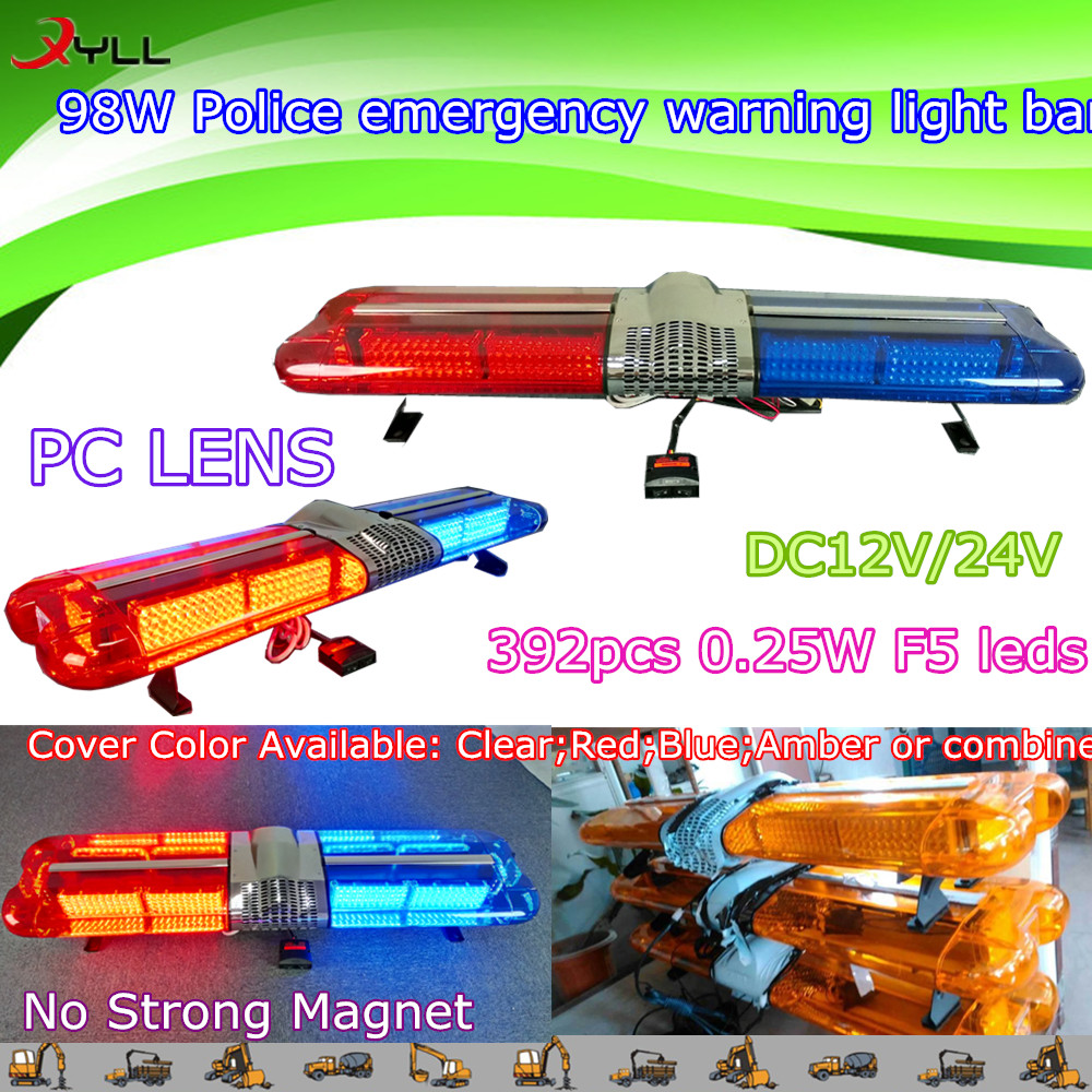 98w Police Emergency Warning Light Bar,Car Doof Light Bar,Flashing ...