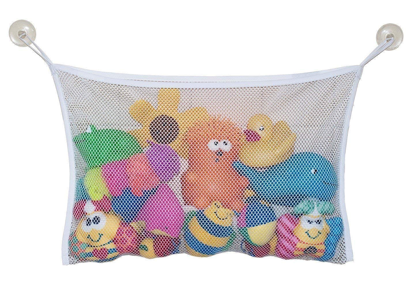 LoveBuy Bath Toy Organizer Mesh Net Bag, Perfect for Bathtub Toys & Bathroom Storage with Suction Hooks, Multi-Use Organizer Bags for Kids, Toddlers & Baby (White, 17.7113.77 Inch)