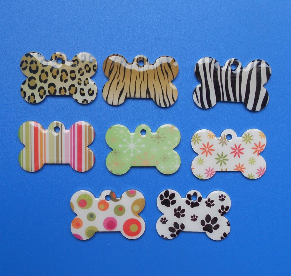40 x26mm custom printed epoxy resin bone shaped dog cat pet tag, oem printed collar tags for pets