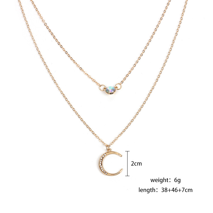The latest hot-selling explosion-proof multi-layer rhinestone moon pendant choker necklace