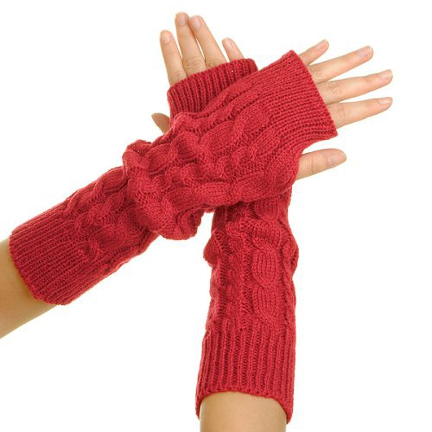 Cheap Knitted Gloves Winter Find Deals On Knit Hoodie Fingerless Maroon Get Quotations Funyye Stylish 1 Pair Women Lady Girl Crochet Long Soft Warmer Braided Wrist