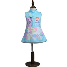2016 My Girls Little Pony Dress Summer Brand Toddler Girls Clothes Lace Sequins Princess little pony kids Halloween Party Dress