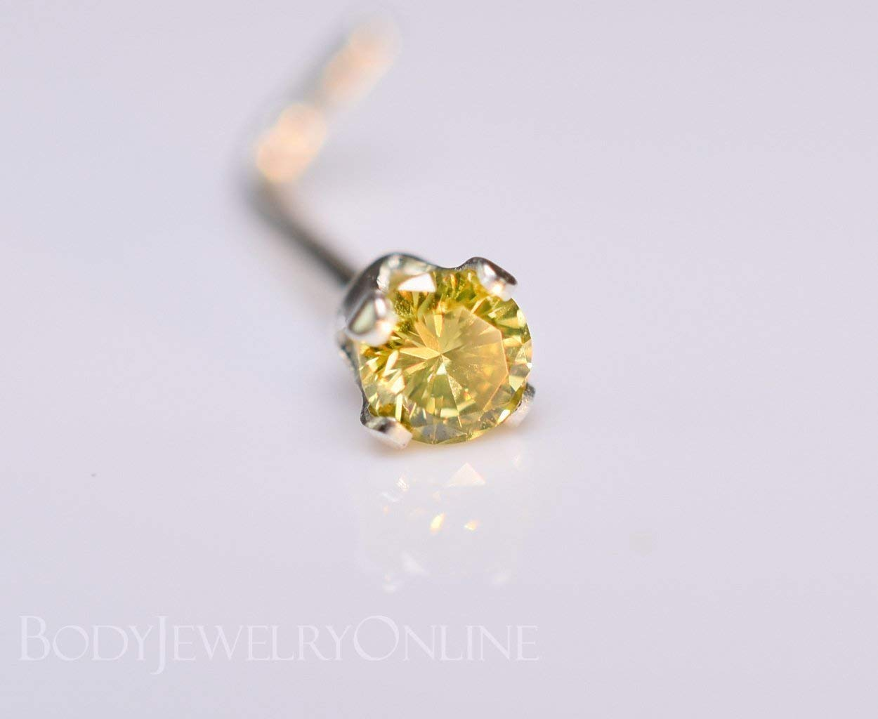 27fe4bd74 Get Quotations · Genuine CANARY YELLOW DIAMOND Nose Stud 2mm - Post w/ 14k  Solid Yellow or White