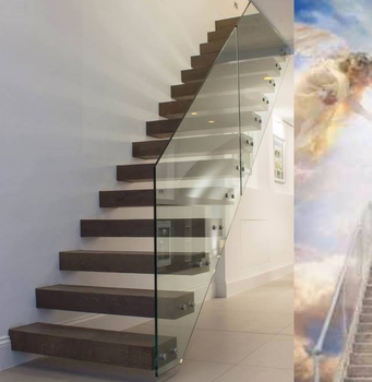Glass Railing Wood Tread Floating Cantilevered Staircase
