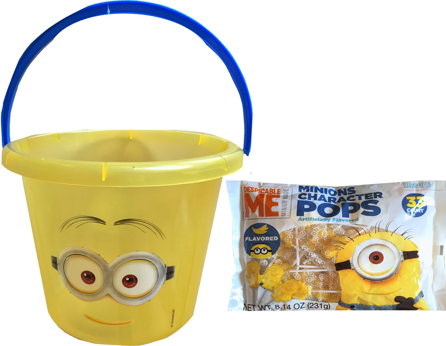 Minions Children's Jumbo Halloween Toy Bucket for USE of a Halloween Candy Trick O Treating Bucket with Minions Banana Flavored Character Pops 33 Count 8.14 Oz