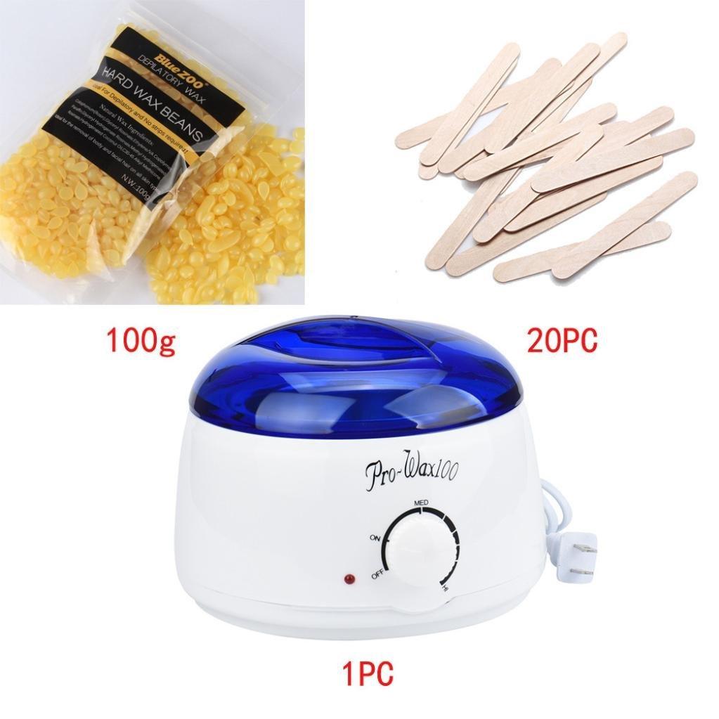 Hot Sale!!!OVERMAL Hair Removal Bean Wiping Sticks Hot Wax Warmer Heater Pot Depilatory Set (F)