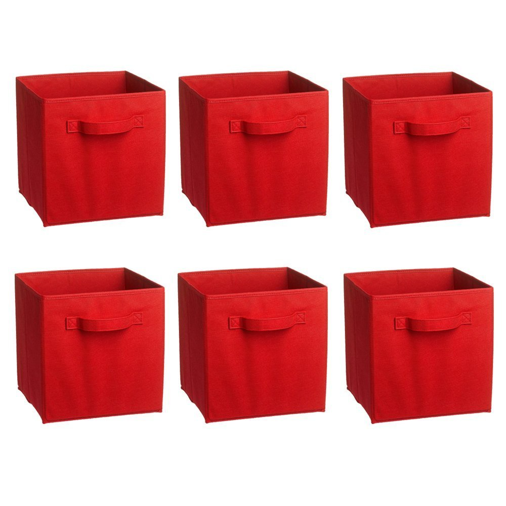 Rusee Foldable Cloth Storage Cube Basket Bins Organizer Containers Drawers, 6 Pack