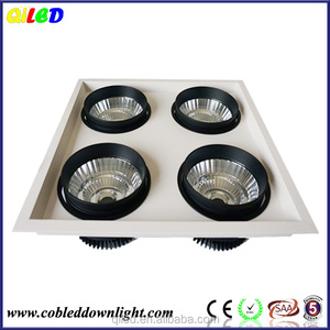four head 4*20W COB chip grille downlight dimmable grille spotlight 80w recessed ceiling led grille downlight 4*20W