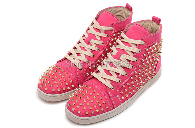 2015 fashion style France Men women red bottom spikes high top leisure sneakers,leather suede unisex fashion rivets shoes