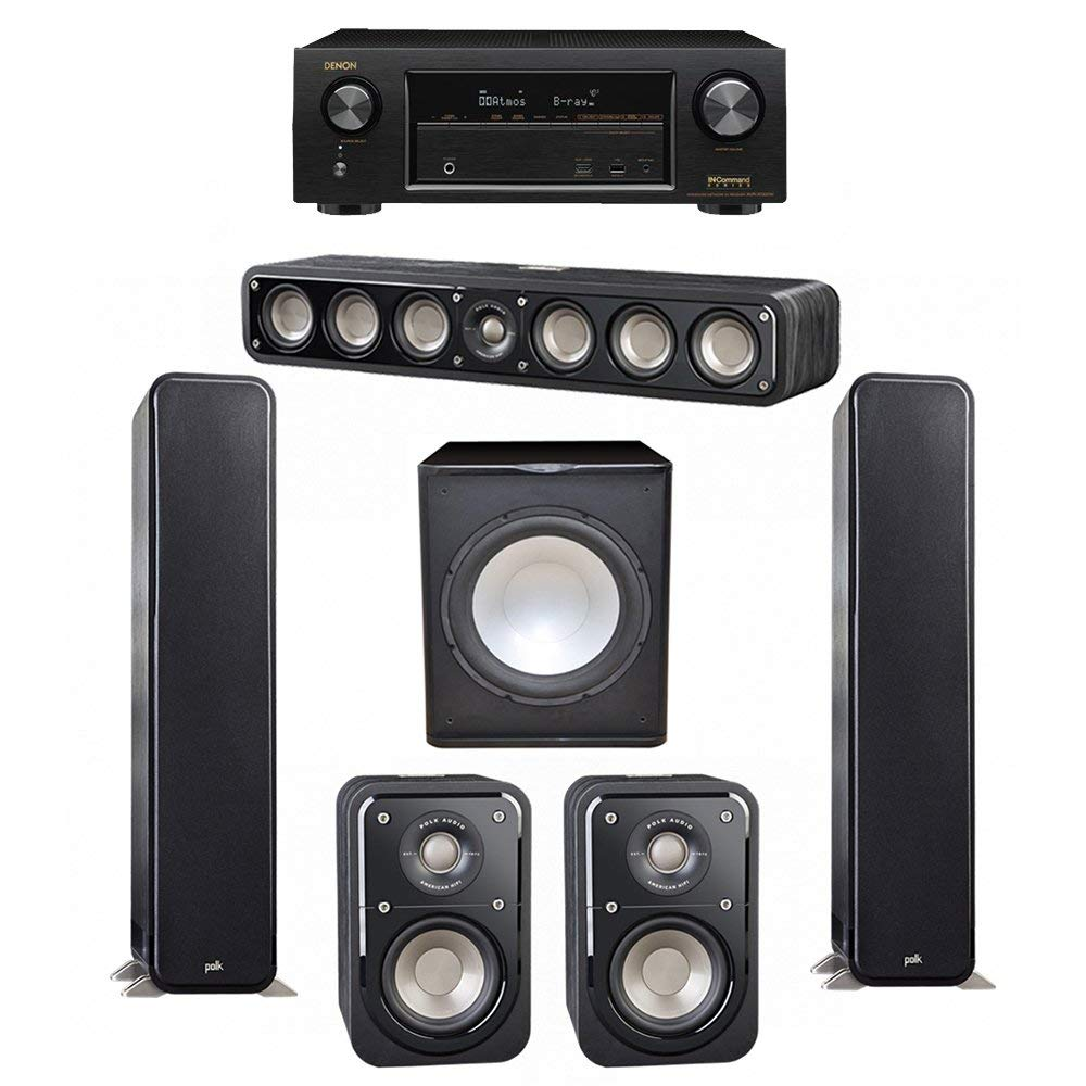 Polk Audio Signature 5.1 System with 2 S55 Tower Speaker, 1 Polk S35 Center Speaker, 2 Polk S10 Surround Speaker, 1 Premier Acoustic PA-150 Powered Subwoofer , 1 Denon AVR-X1300W AV Receiver