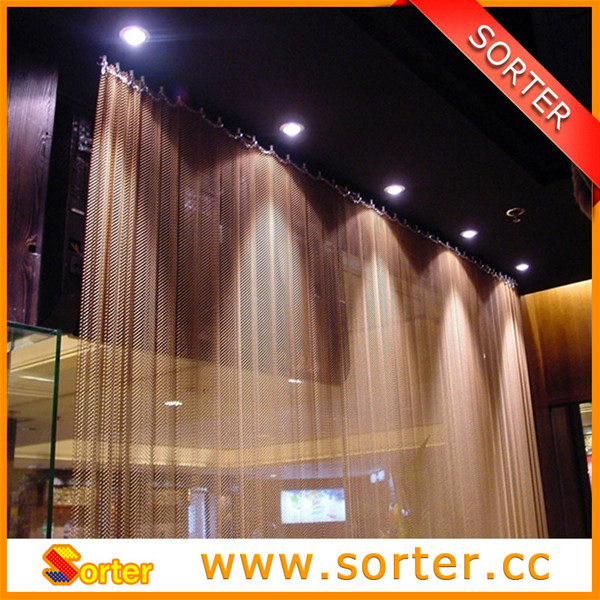 metal drapery for restaurant/partition curtains/wire mesh room divider