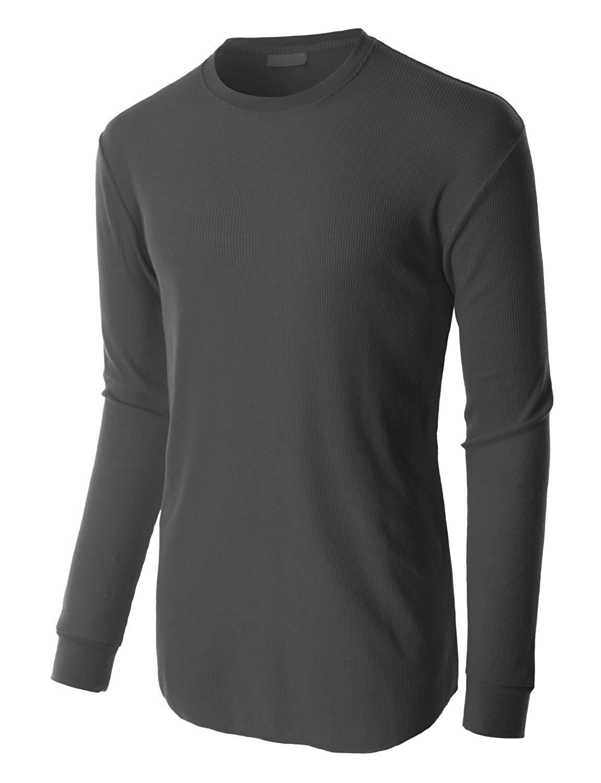 b3b64d1e Get Quotations · OLLIN1 Mens Lightweight Waffle Knit Long Sleeve Crewneck  Thermal Shirt
