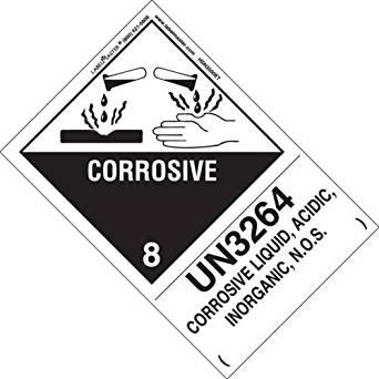 "Corrosive 8 DOT Hazardous Materials Vehicle Placard 10.75/""x10.75/"""
