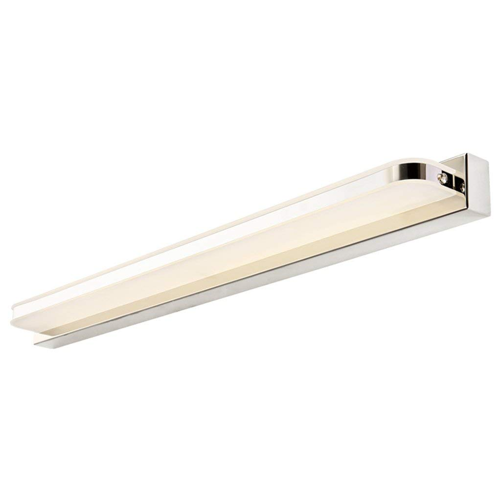 Long gong shop Mirror front light LED bathroom Fillet paragraphs Style Acrylic waterproof anti fog mirror headlight|chromium color Lighting fixtures A+ (Color : Warm white, Size : (70cm14w))