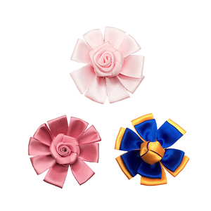 Hot sale high quality make DIY laser cut decorative pink satin ribbon handmade flowers for clothing hat