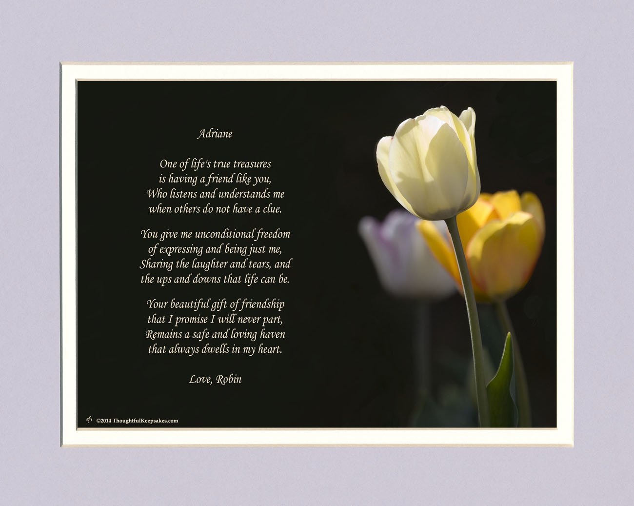 get quotations personalized friend gift white tulip photo with this beautiful friendship poem 8x10 double matted - What Should I Get My Best Friend For Christmas