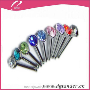 Diamond colored stainless steel piercing nickel free nose rings