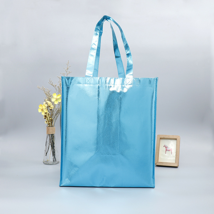 Wholesale Promotional Recyclable gold metallic laminated non woven bag