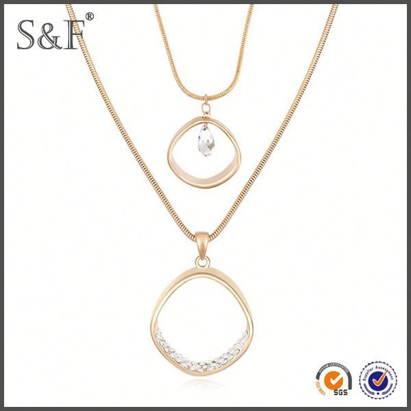 Cheap Prices!! Crystal Fashion New Design 18k gold rope chain necklace