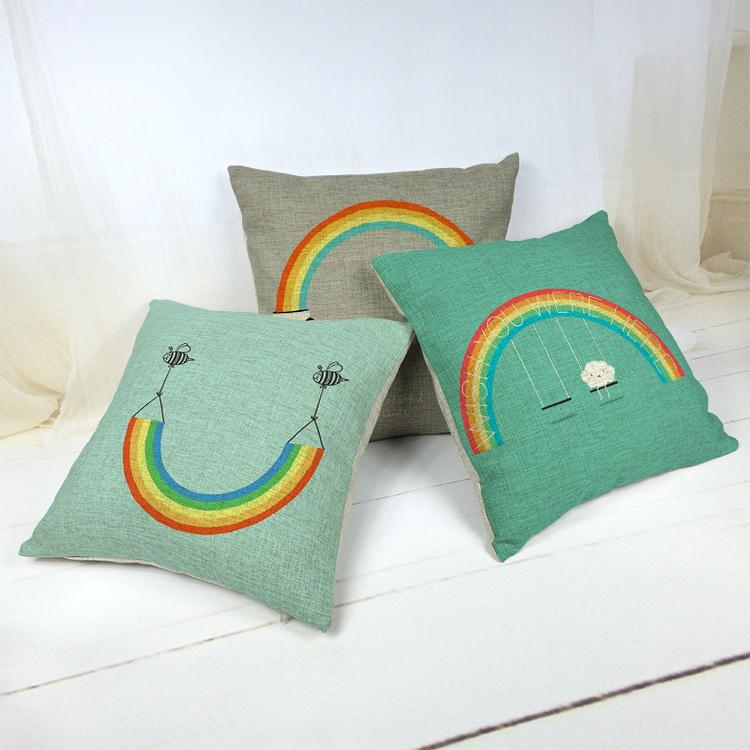 Hot Sale Thick and Thin Cotton Linen Decor Pillow New Home Fashion Gift 45cm Blue rainbow black yellow moon Office Sofa Cushion