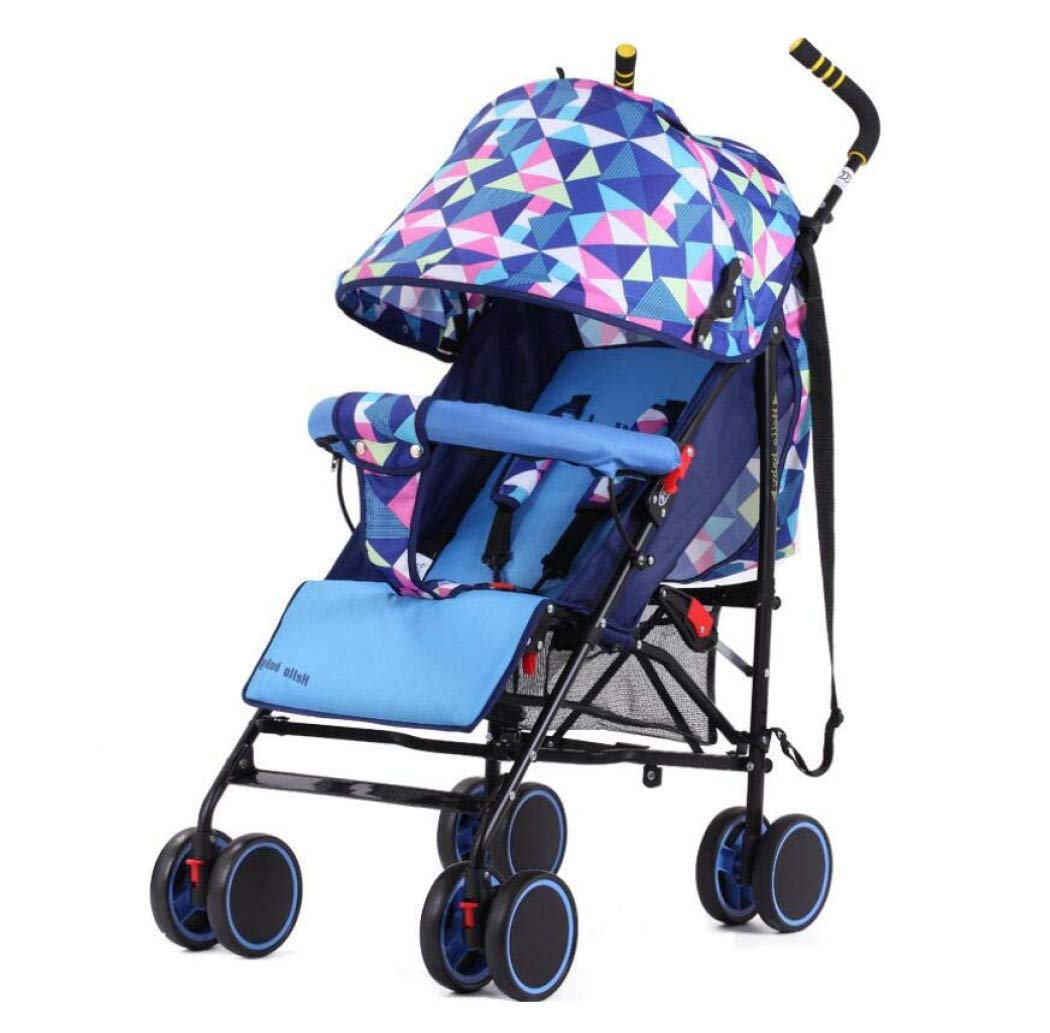 Baby Stroller, Can Sit and Reclining Four Seasons Available Ultra Light Portable, Baby Stroller - Four Wheel BB Trolley Pram,Blue