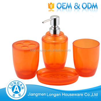 Hot Selling Eco Friendly Household Articles Plastic Acrylic Orange Bathroom  Accessories