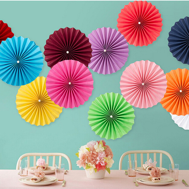 Monolayer Circular Folded Paper Fan Party Supplies Wedding Background Decoration window dressing DIY Origami