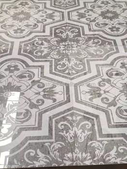 Grey Marble Floral Pattern Carved Floor Tile Designs For Hall, Kitchen,  Bathroom