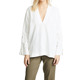 Ladies Custom Wholesale V Neck Long Sleeve White Linen Tunic tops