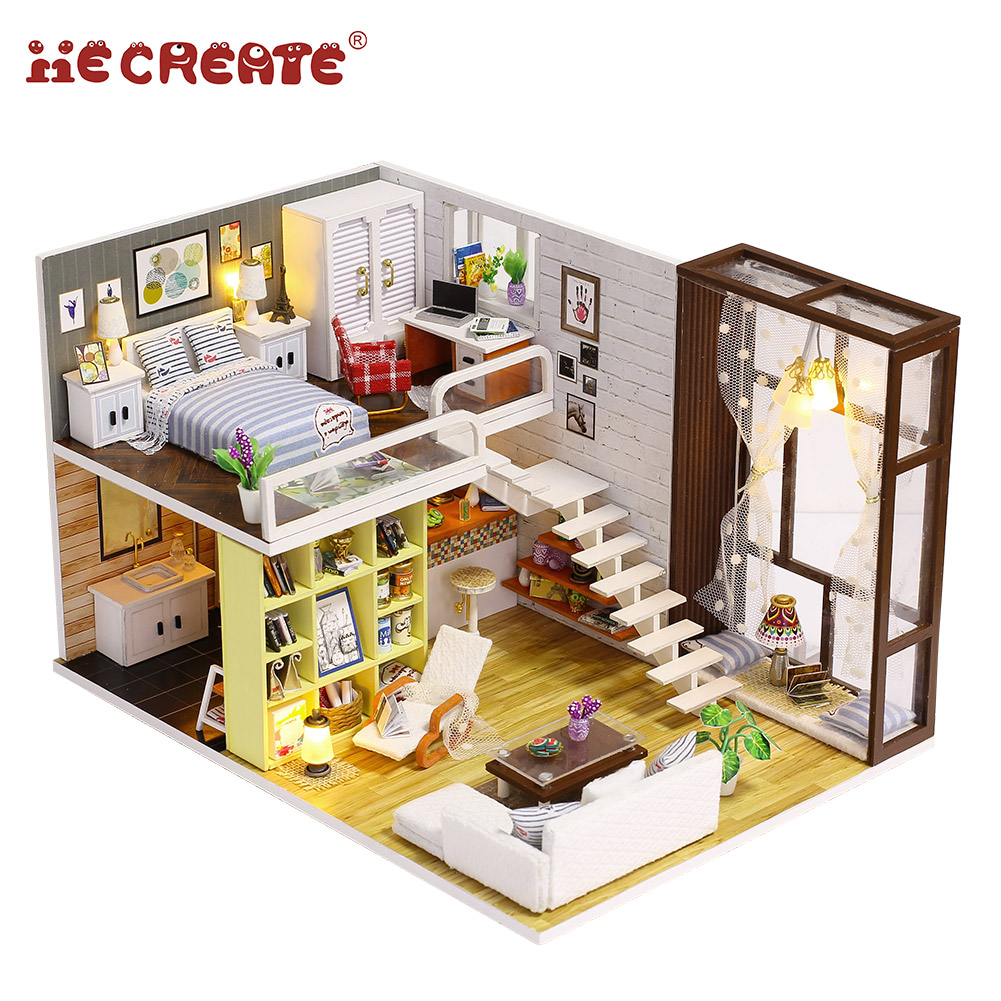 Handmade beautiful DIY wooden doll house with furniture for kid best birthday gift for girlfriend Love Bali Island