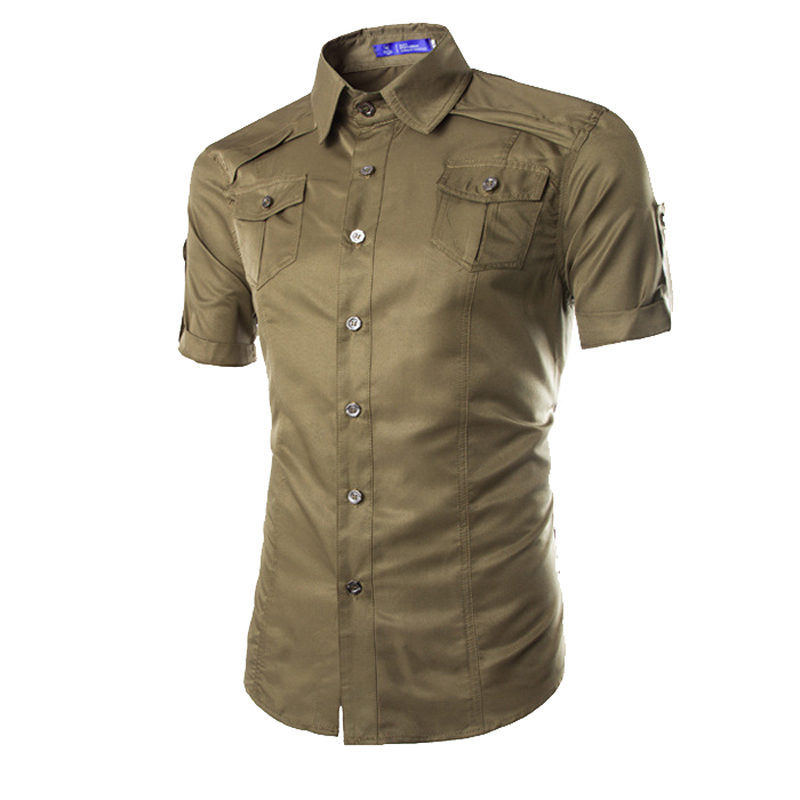 9a9ec9a3 Get Quotations · 2015 New casual shirts men short sleeve pockets design  shirts M-XXL