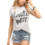 Fashion New Light Grey Letter Printed Women Casual T-Shirt