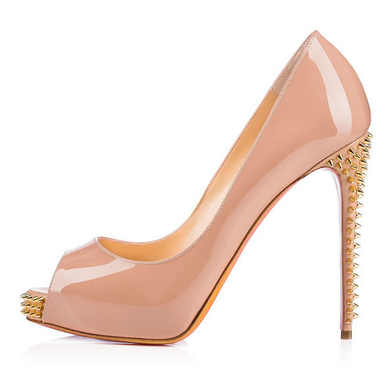 Nude Patent Prom Party Wear Pumps Shoes Rivets Open Peep Toe Fancy Girls Platform Fetish Special High Heels Sandals