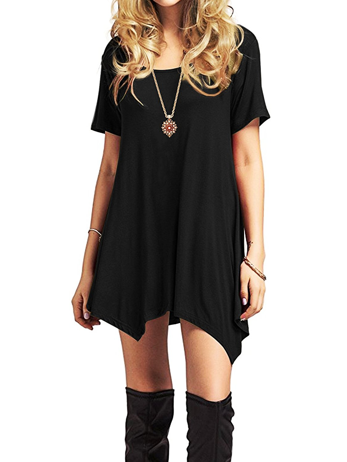 Goodfans Women Vintage Short Sleeve Solid Bow Pullover Tunic Swing Maxi Dress