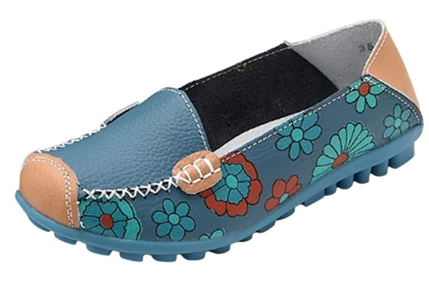 Maybest Women Bright Color Casual Flower Printed Slip On Leather Flat Pumps Moccasins Dancing Shoes