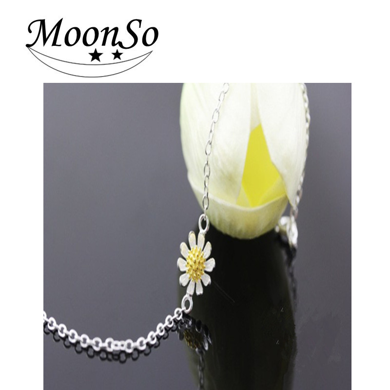 MOONSO 2016 New Daisy Sun flower Hotwife Anklet Bracelet S925 Sterling Silver fashion jewelry AA227