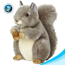 Lifelike cheap plush squirrel toy for kids CE standard custom embroidery logo cute stuffed soft plush squirrel