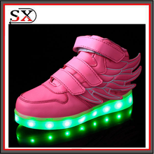 Wholesale PU Leather High Top Led Light Up Kids Shoes With Wing