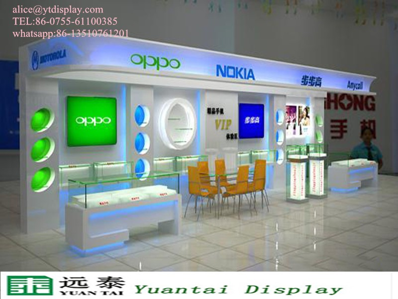 Mobile Shop Decoration Ideas Counter Glass Display Showcase