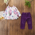 B11274A factory wholesale baby girl 2 pcs summer chiffon shorts set girl's clothing sets